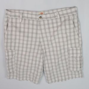 Dockers Plaid Cargo Shorts white brown flat front